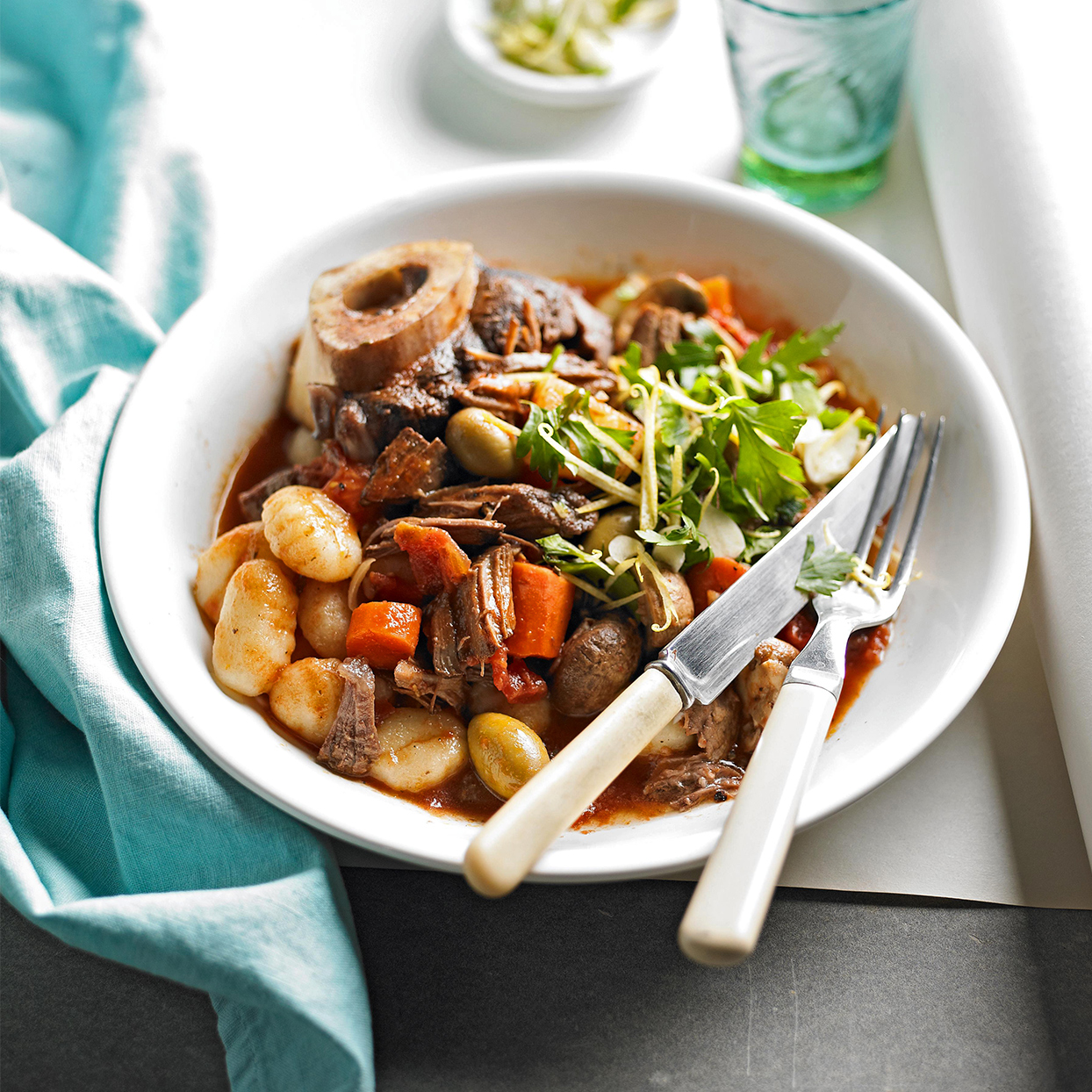 Braised Beef Shanks with Mushrooms and Olives