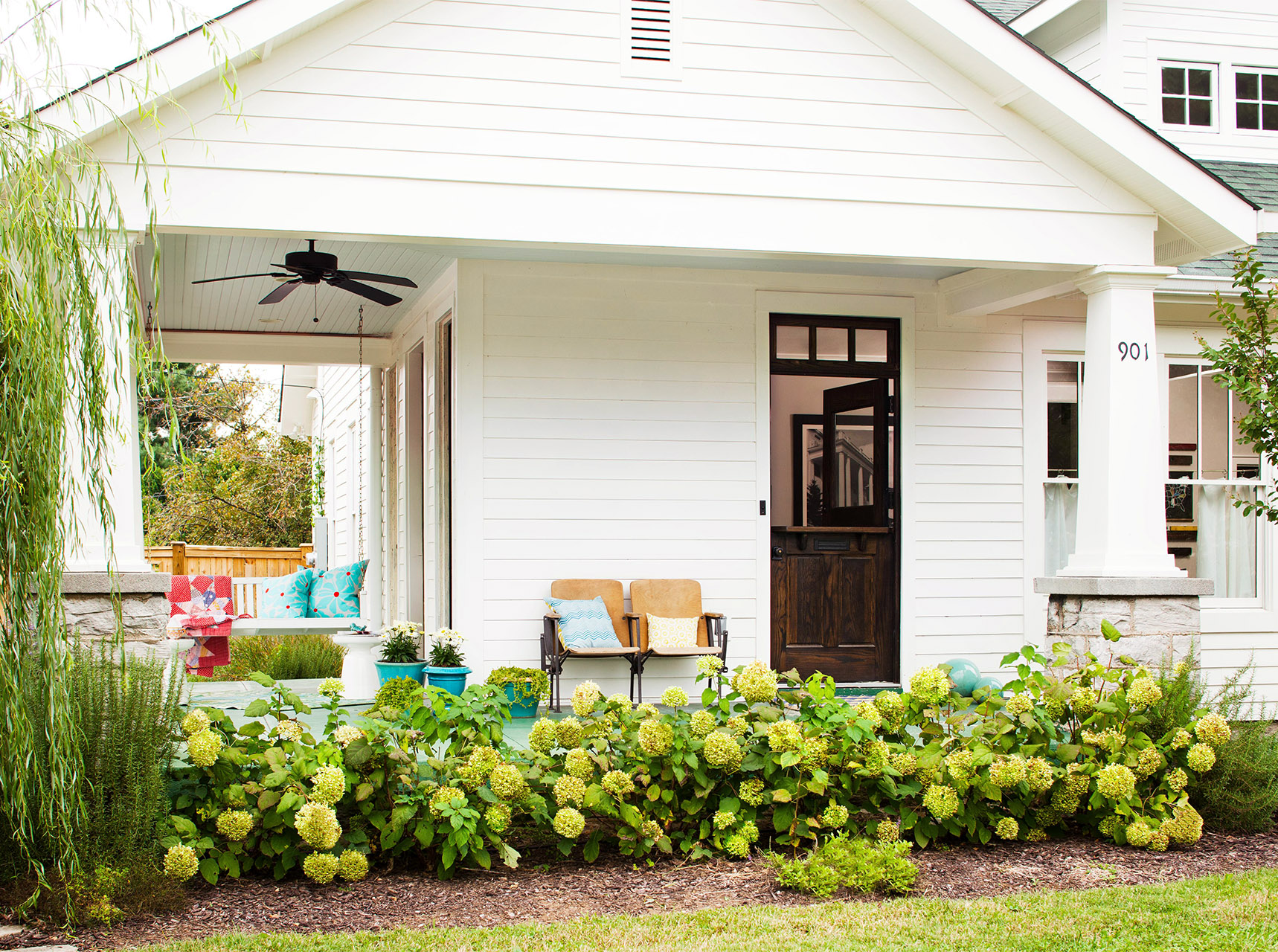 porch with landscaping