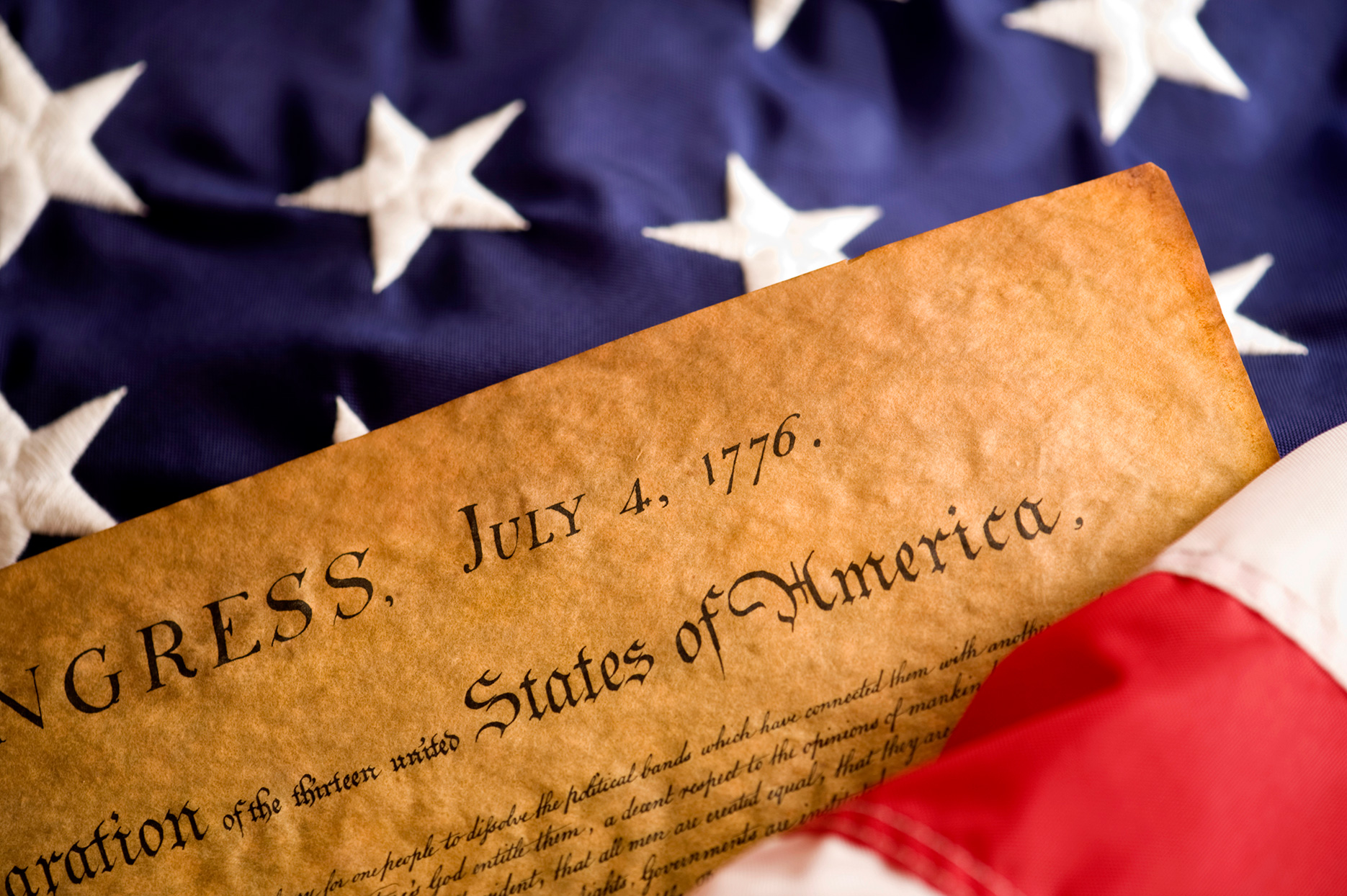 declaration of independence paper with american flag