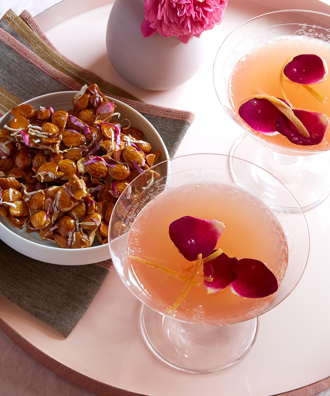 Sparkling Wine and Roses Cocktail
