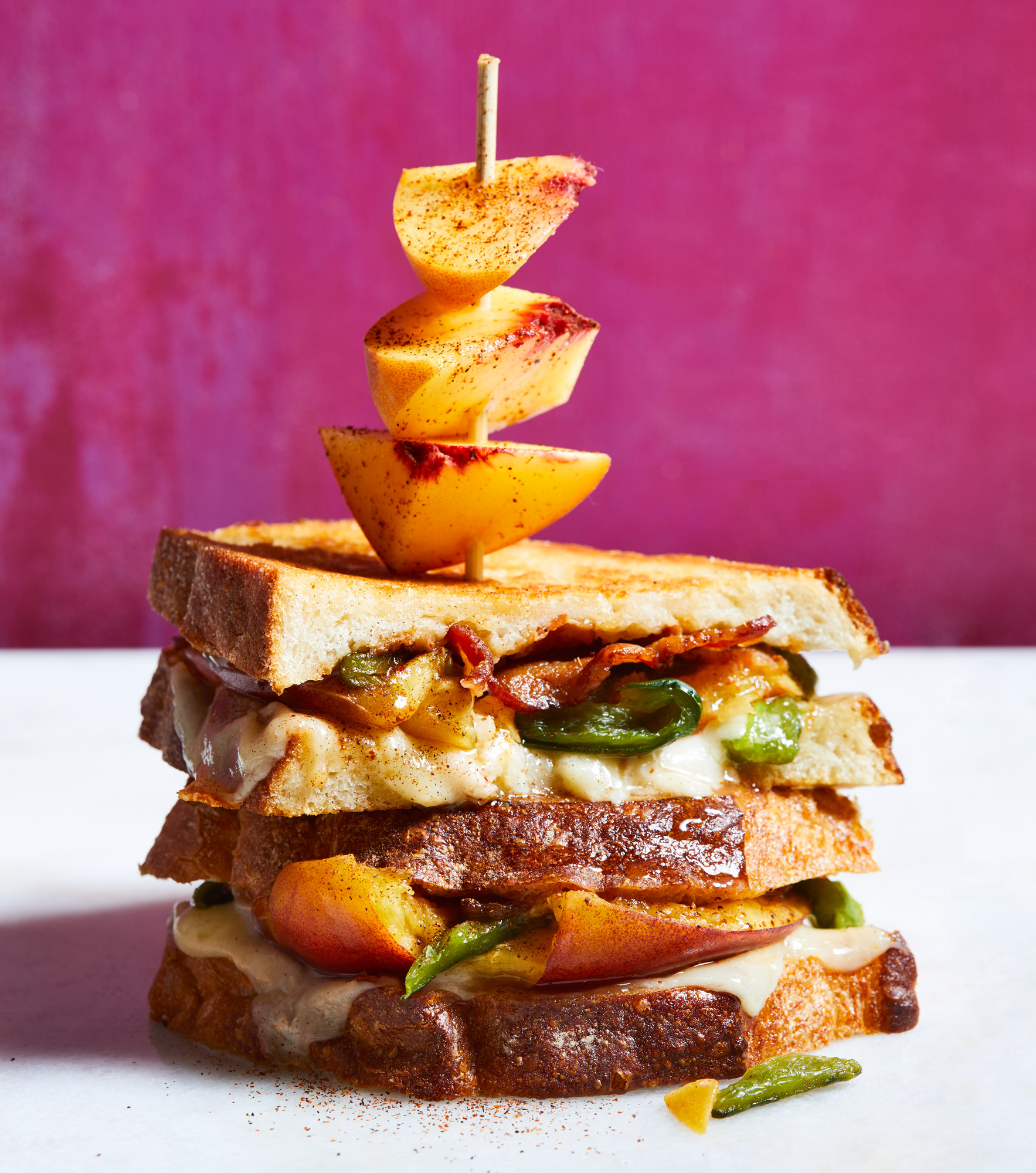 Smashed Peach and Poblano Grilled Cheese