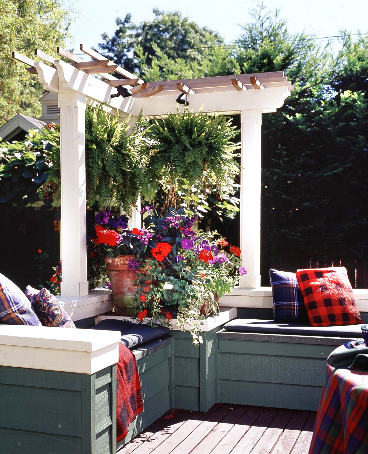 small pergola over couch