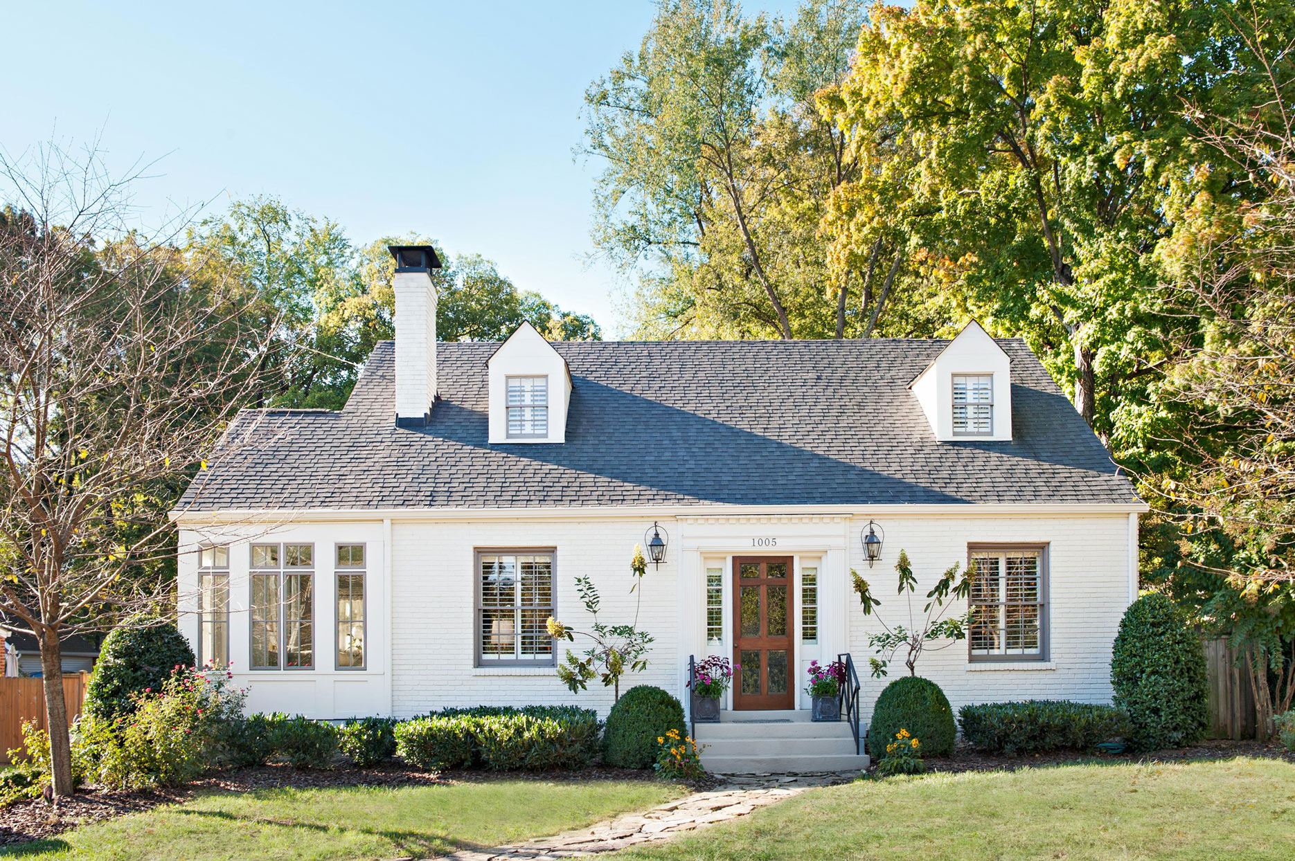 white home front exterior