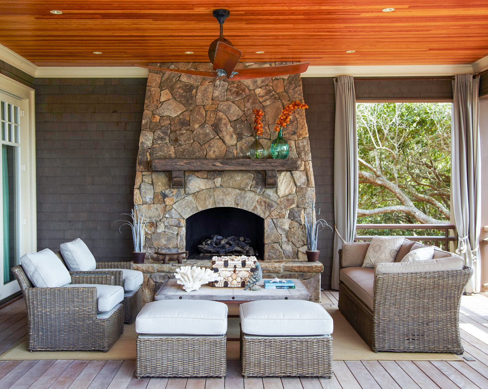 Covered Deck Fireplace