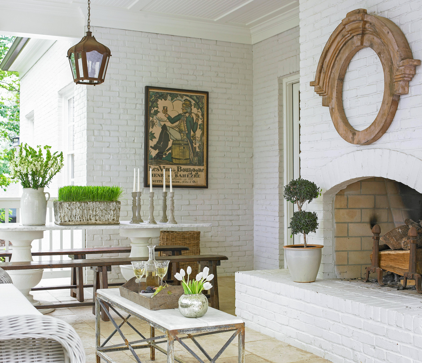 White-painted brick fireplace