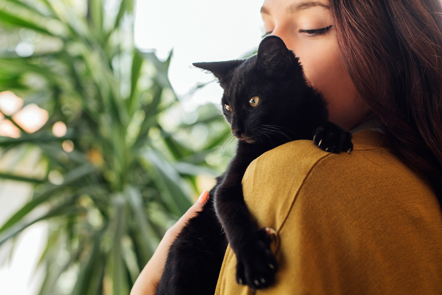 woman holding black cat
