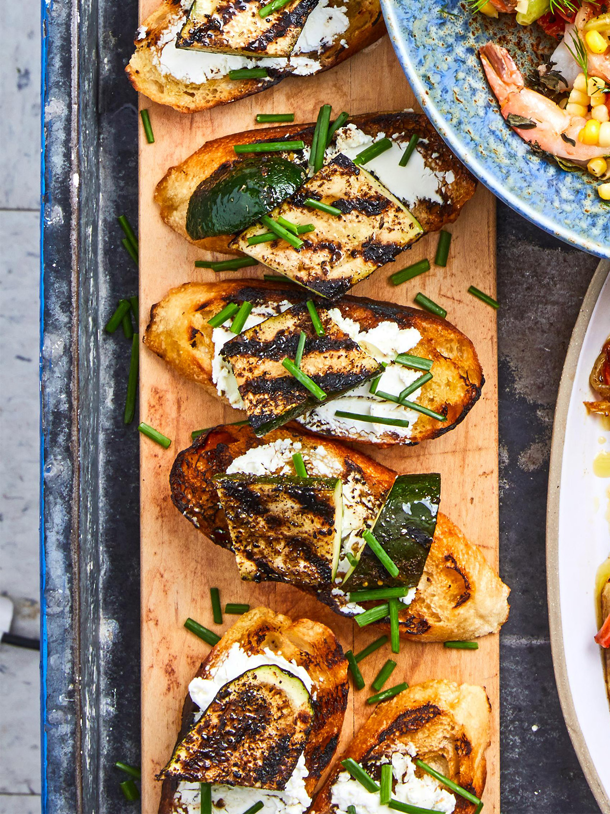 Grilled Zucchini and Goat Cheese Toasts