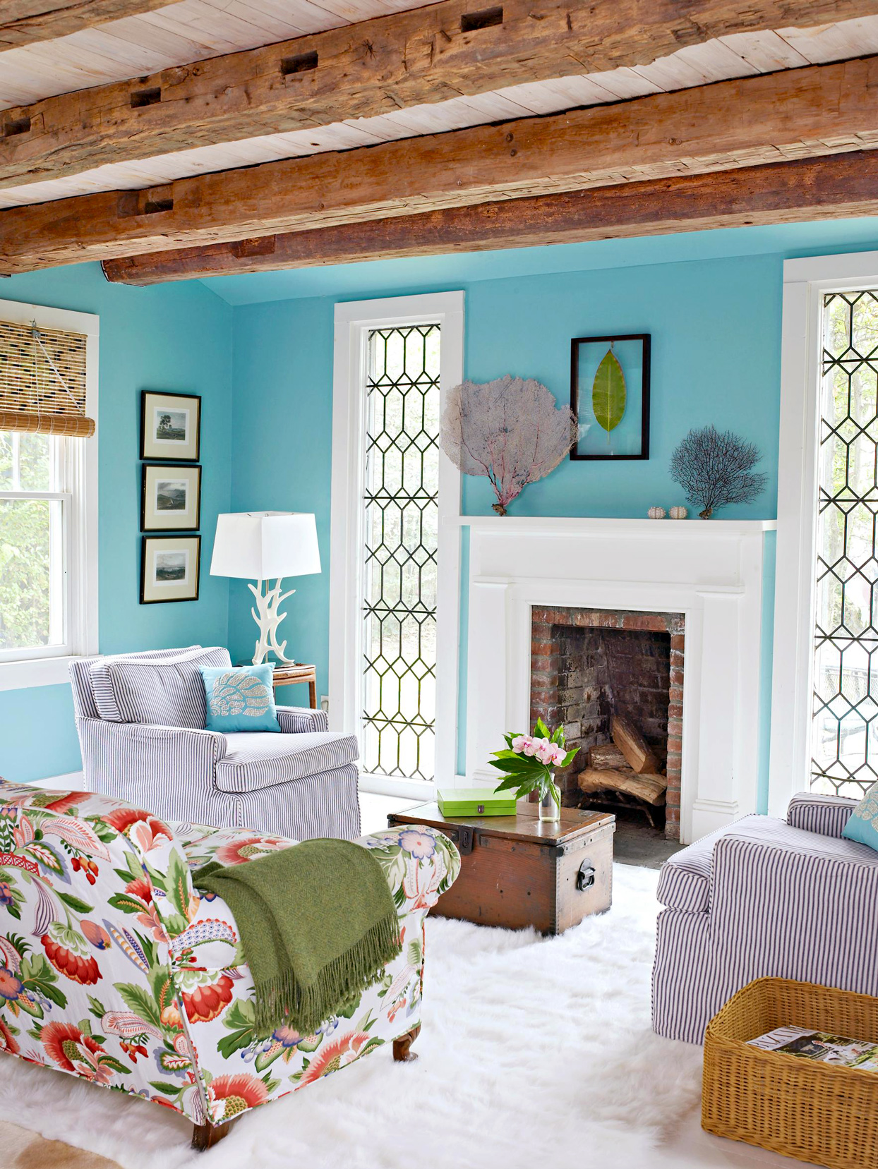 blue living room with wood ceiling
