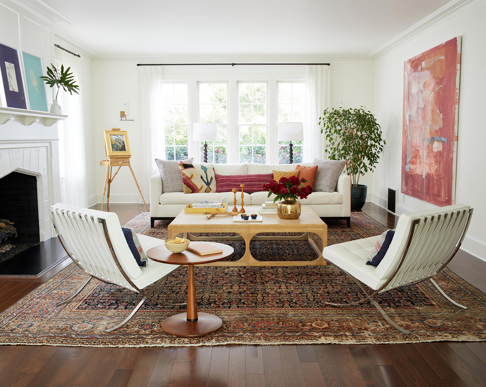 Living room with large area rug