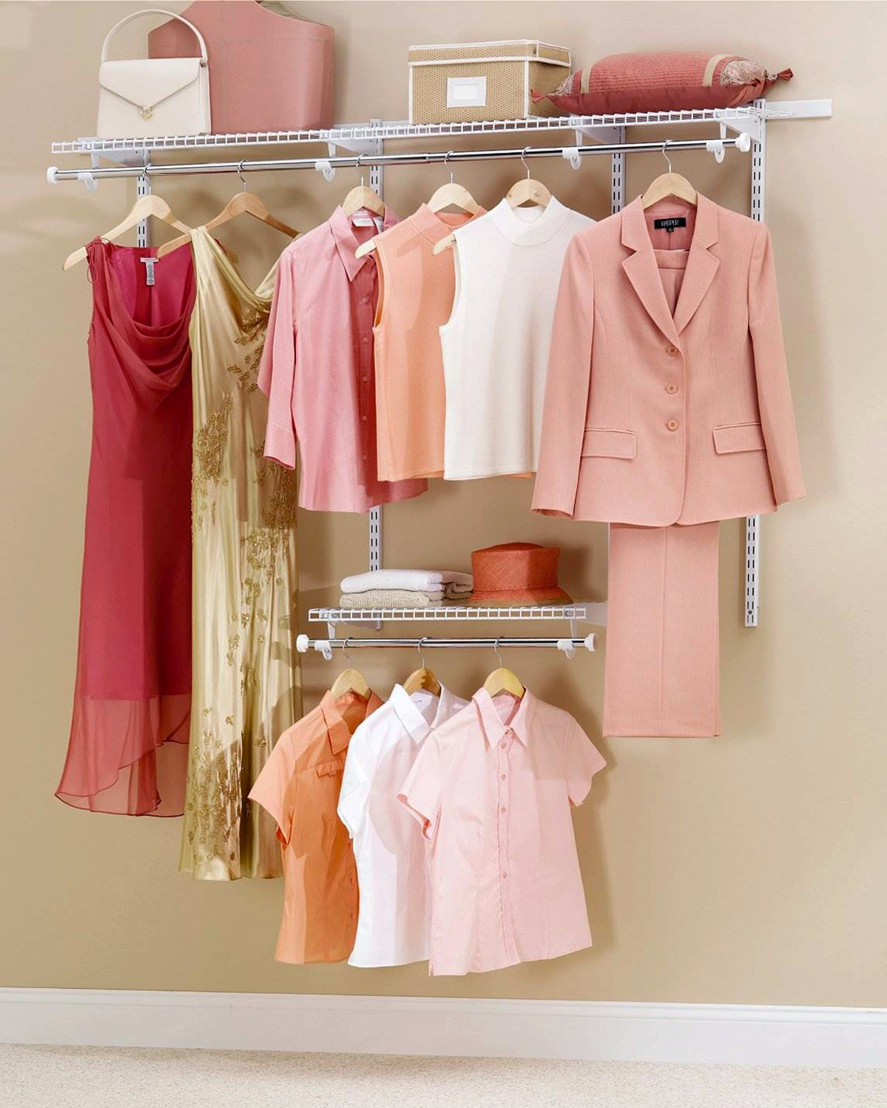 pink and white clothes hanging