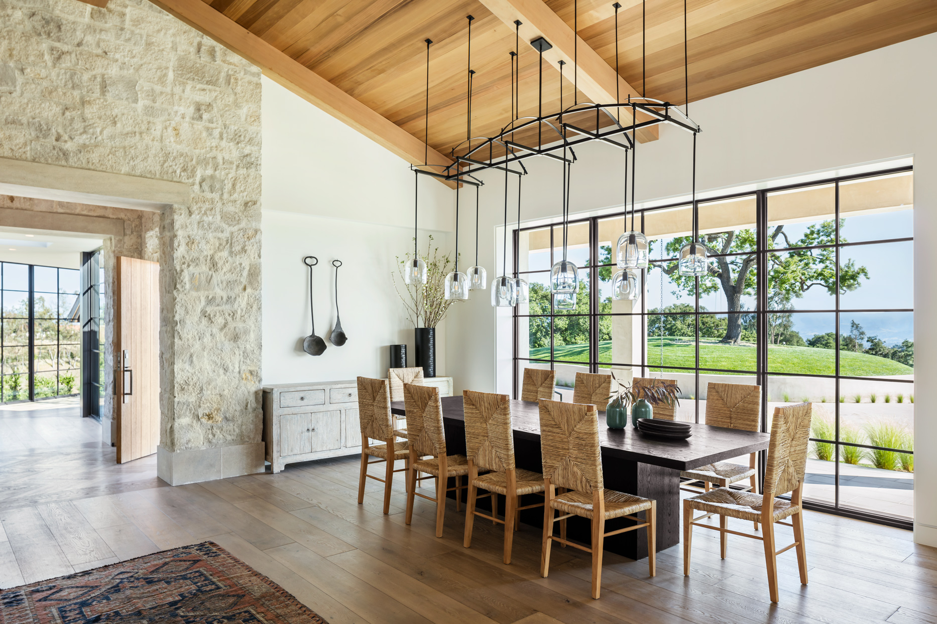 dining area with stone entry