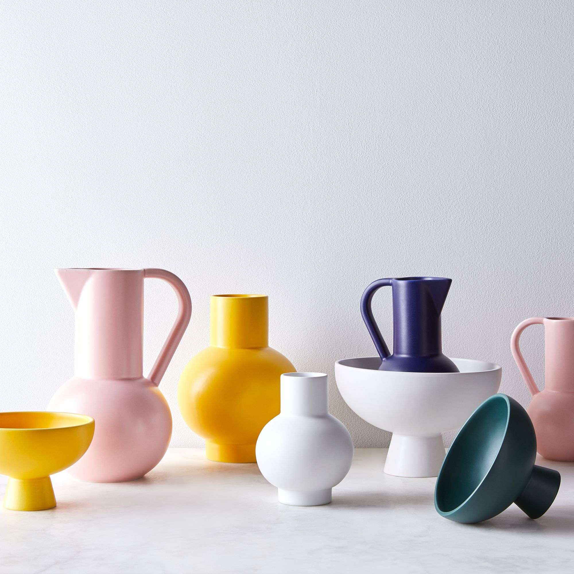 bowls, pitchers, kitchen accents in multiple colors