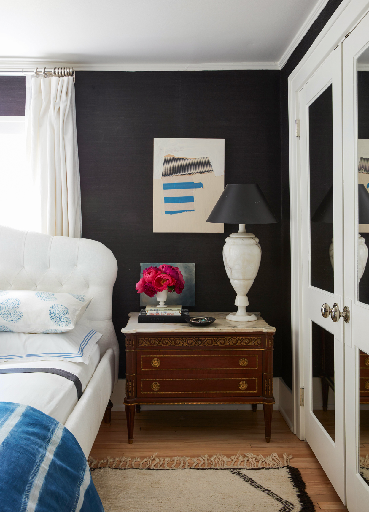 nightstand black white bedroom
