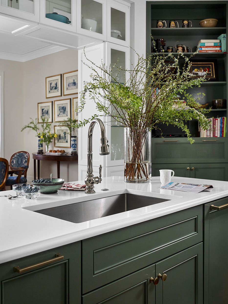 kitchen faucet sink white counter