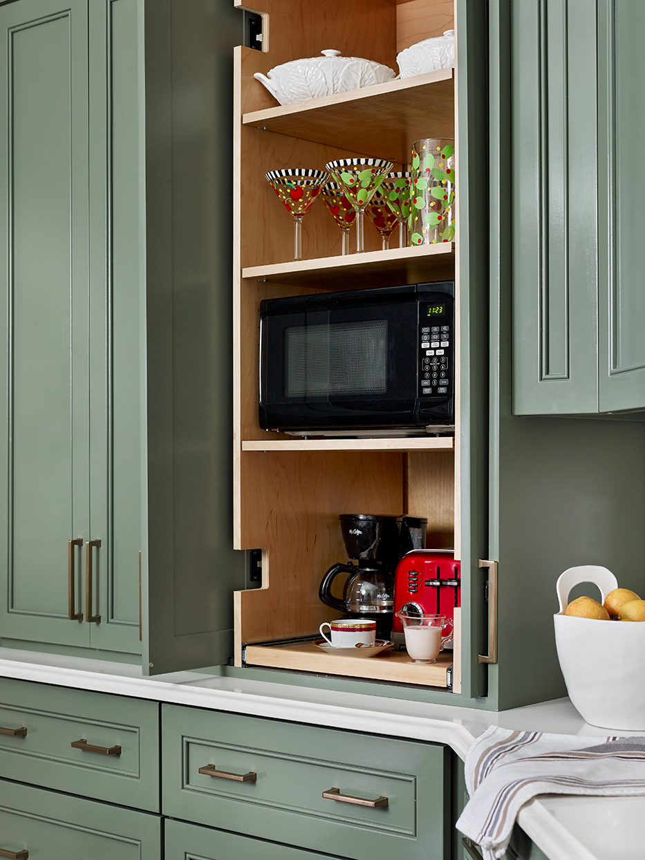 microwave coffee station shelves