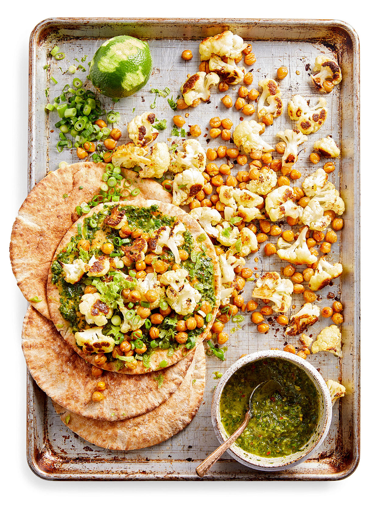 Roasted Cauliflower and Chickpeas with Chimichurri on sheet pan