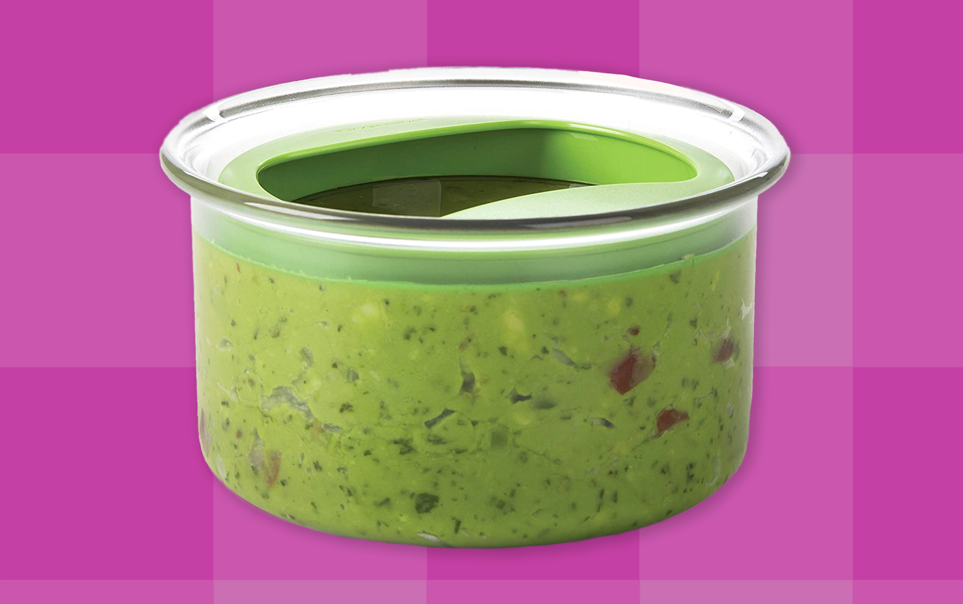 Guacamole container on a purple background