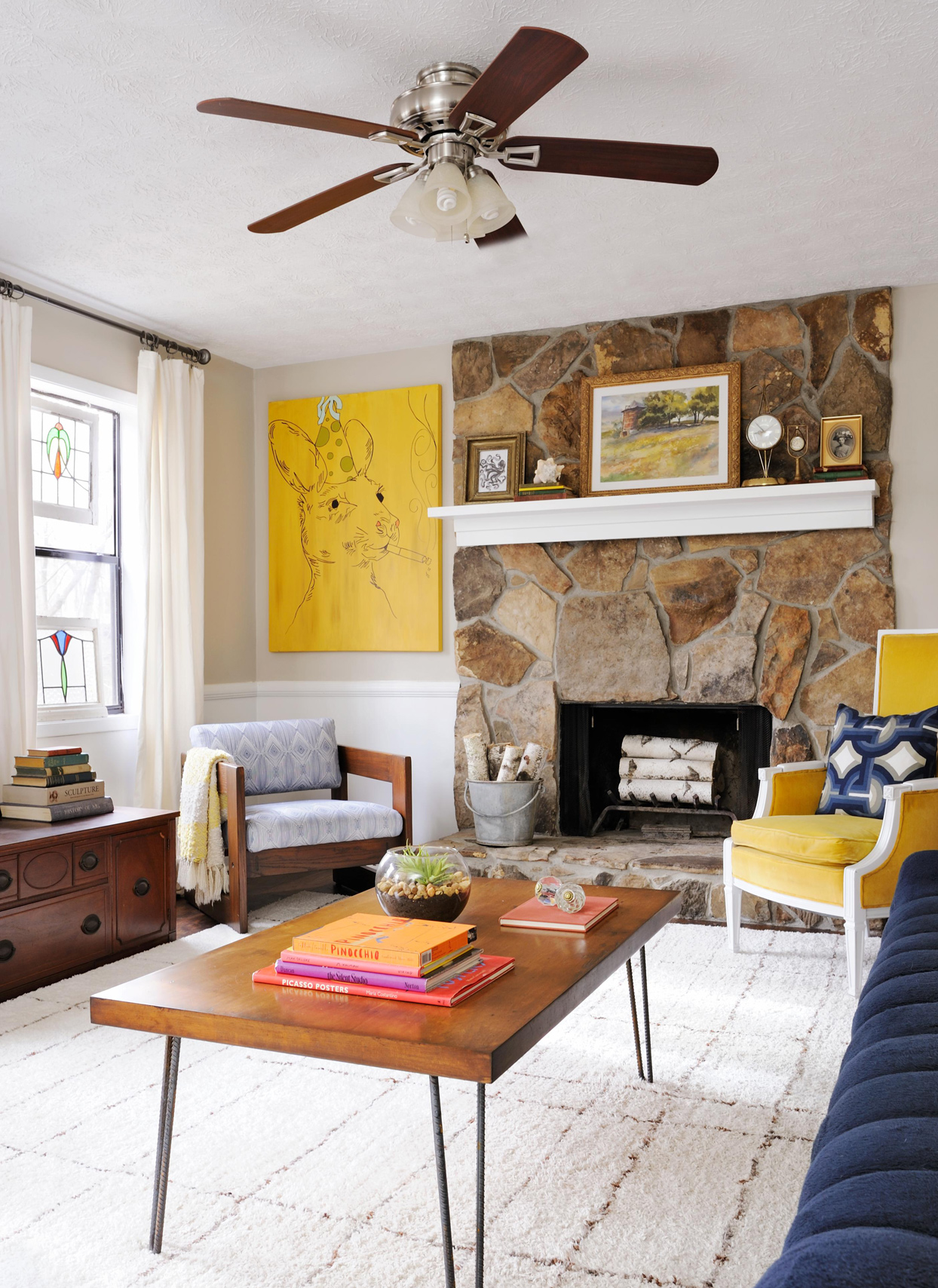 eclectic style room fireplace