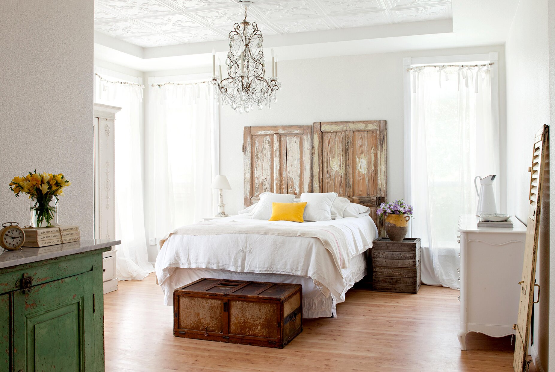 Eclectic style bedroom with cottage, rustic, and country style accents