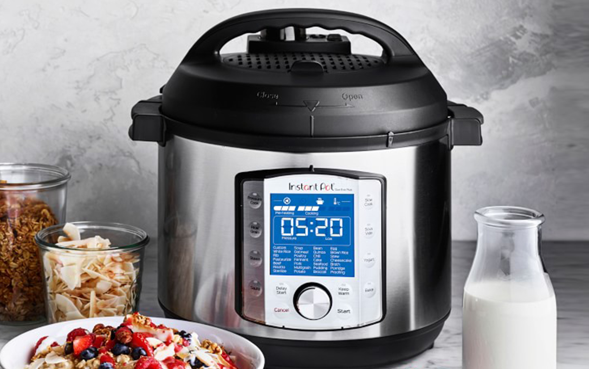 Instant Pot on a kitchen counter with cereal ingredients