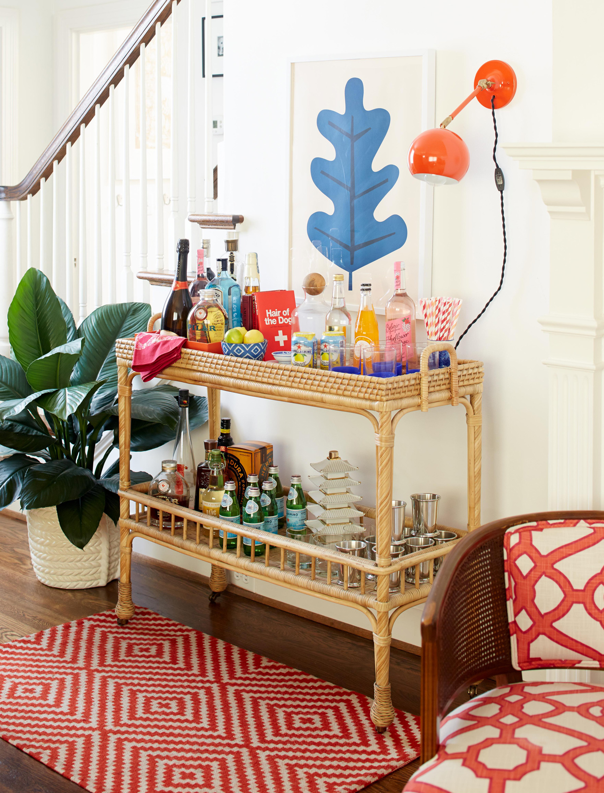 bohemian decor tropical drink cart