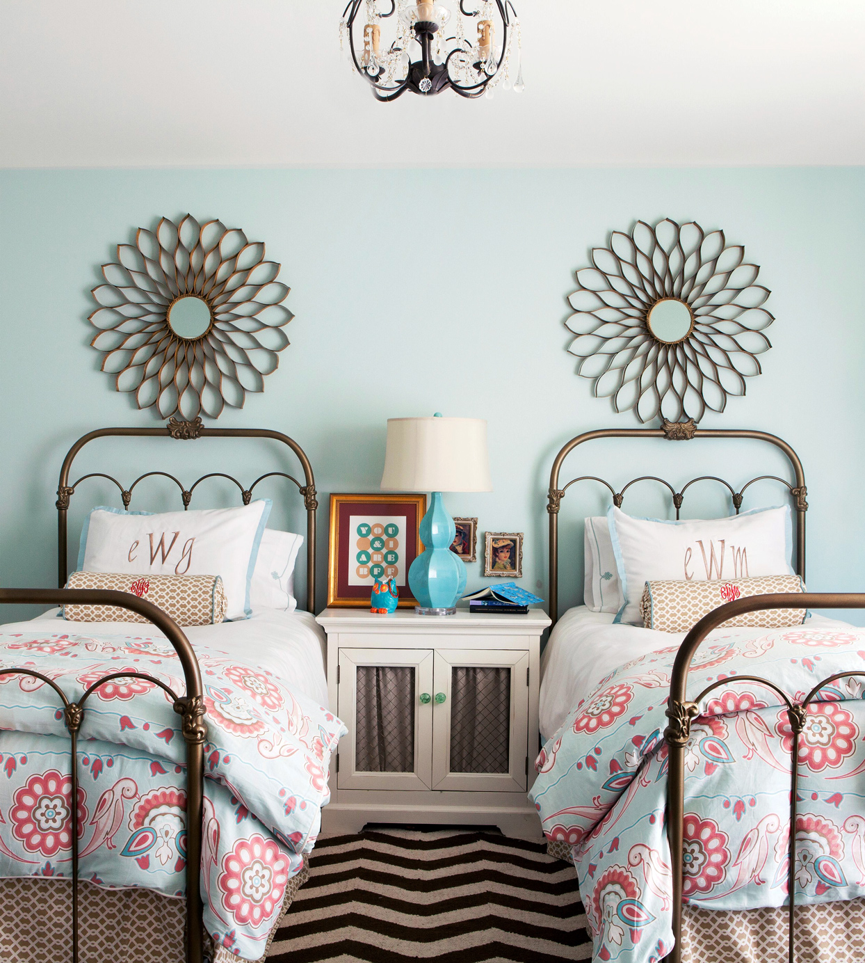 blue bedroom with 2 beds