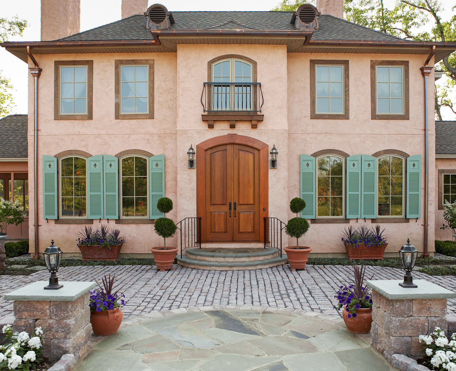 europe-inspired stucco exterior
