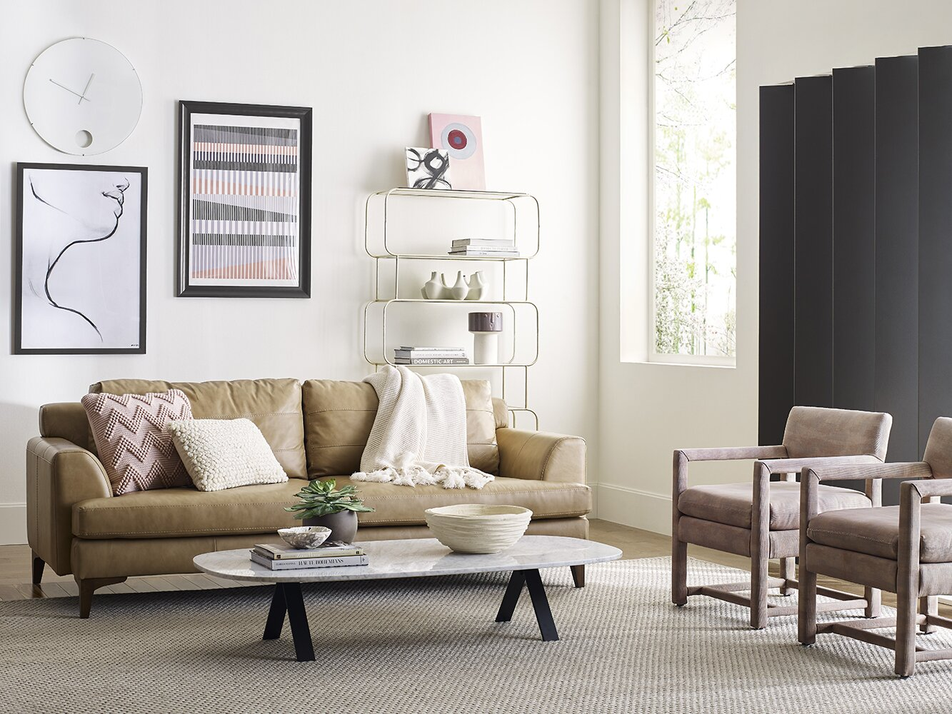 neutral living room with white walls