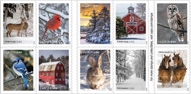 winter scene stamps from USPS