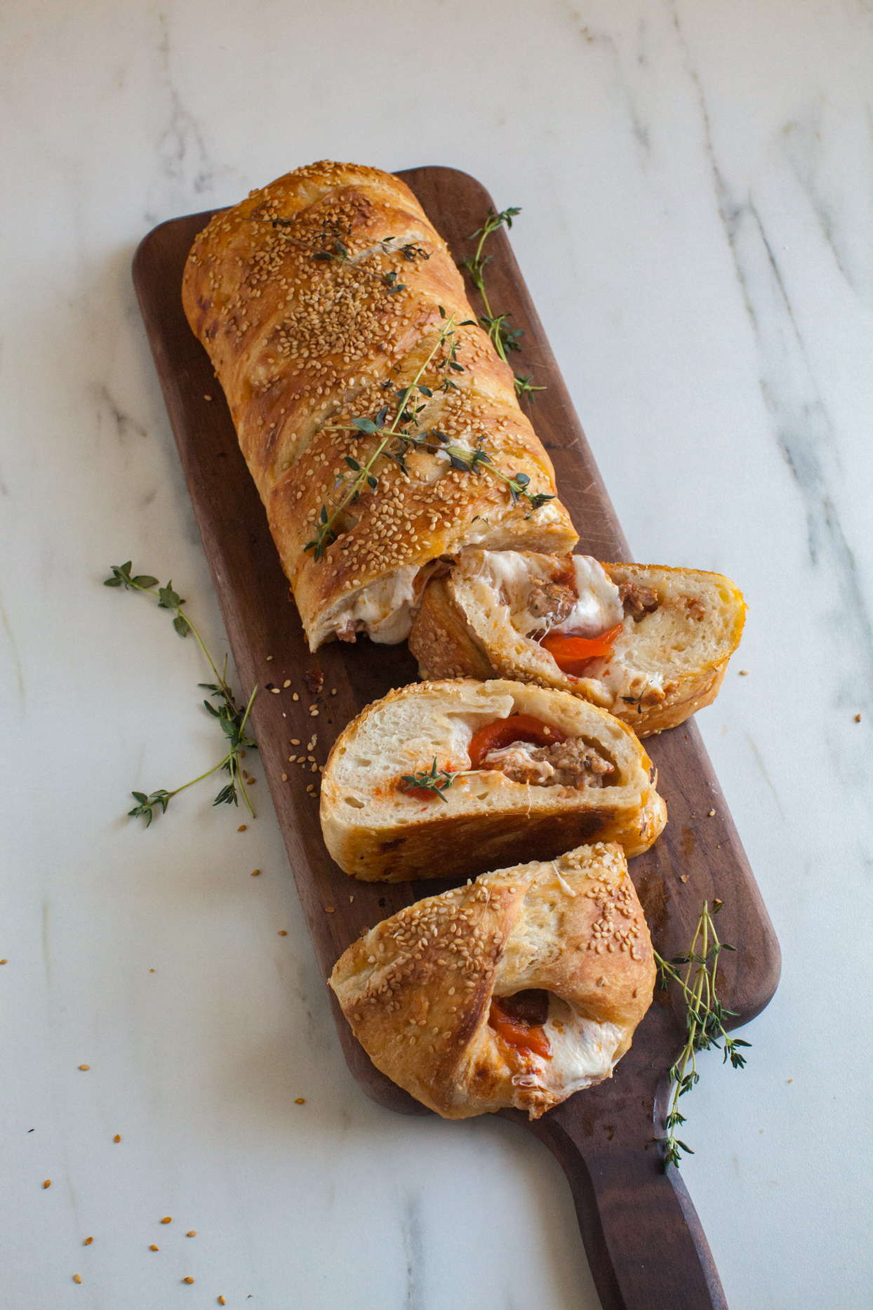Sausage and Roasted Red Pepper Braid