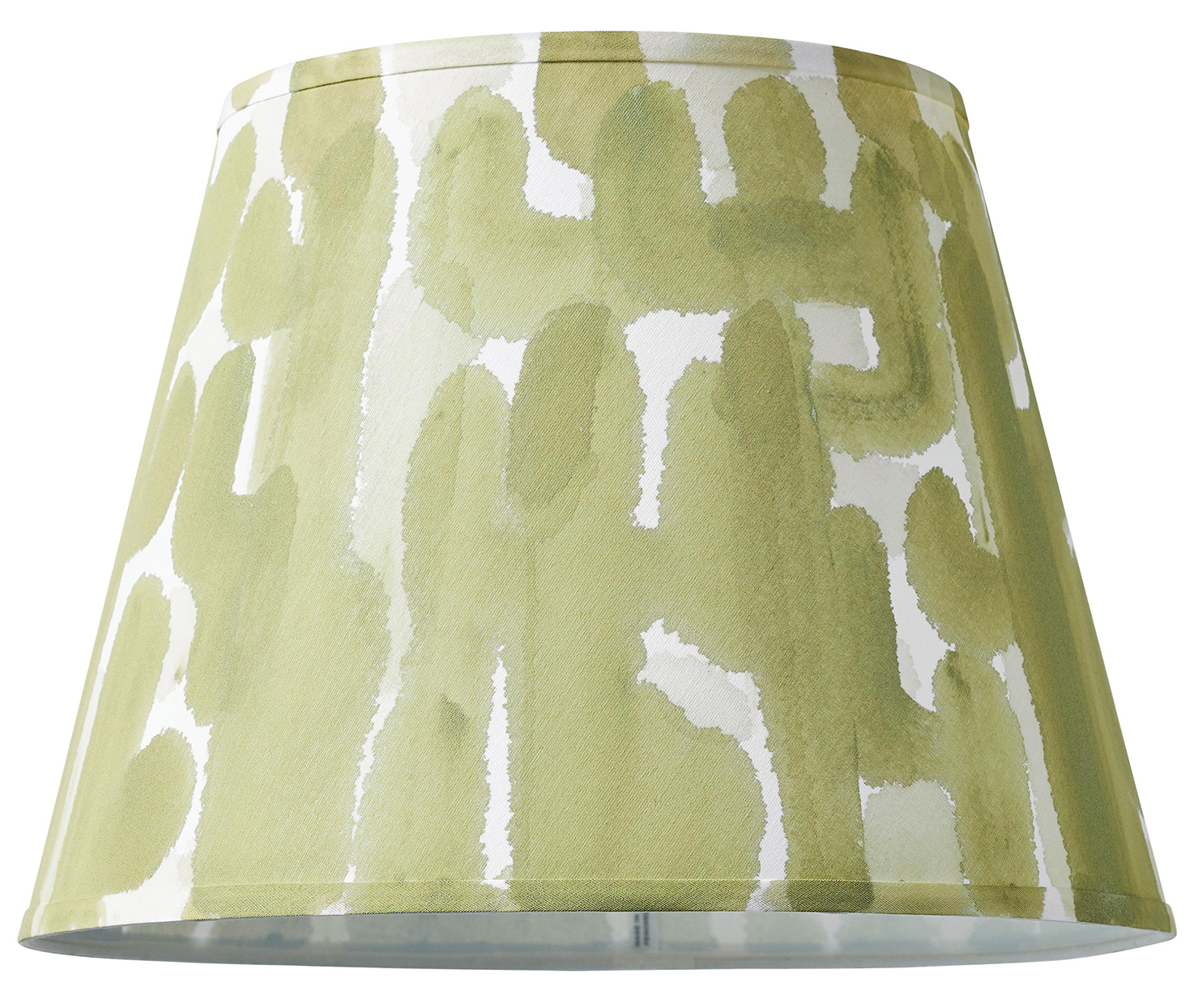 lampshade with painted food coloring-based green watercolor