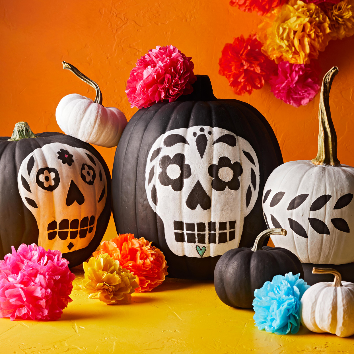 skull pumpkin decorations
