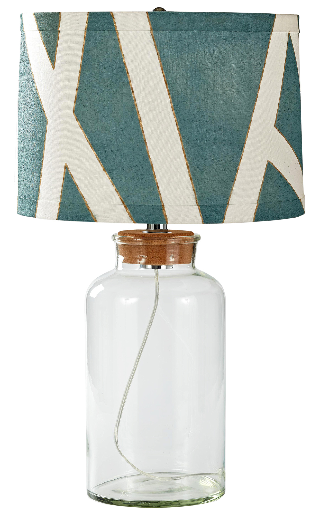spray-painted geometric teal and gold lampshade