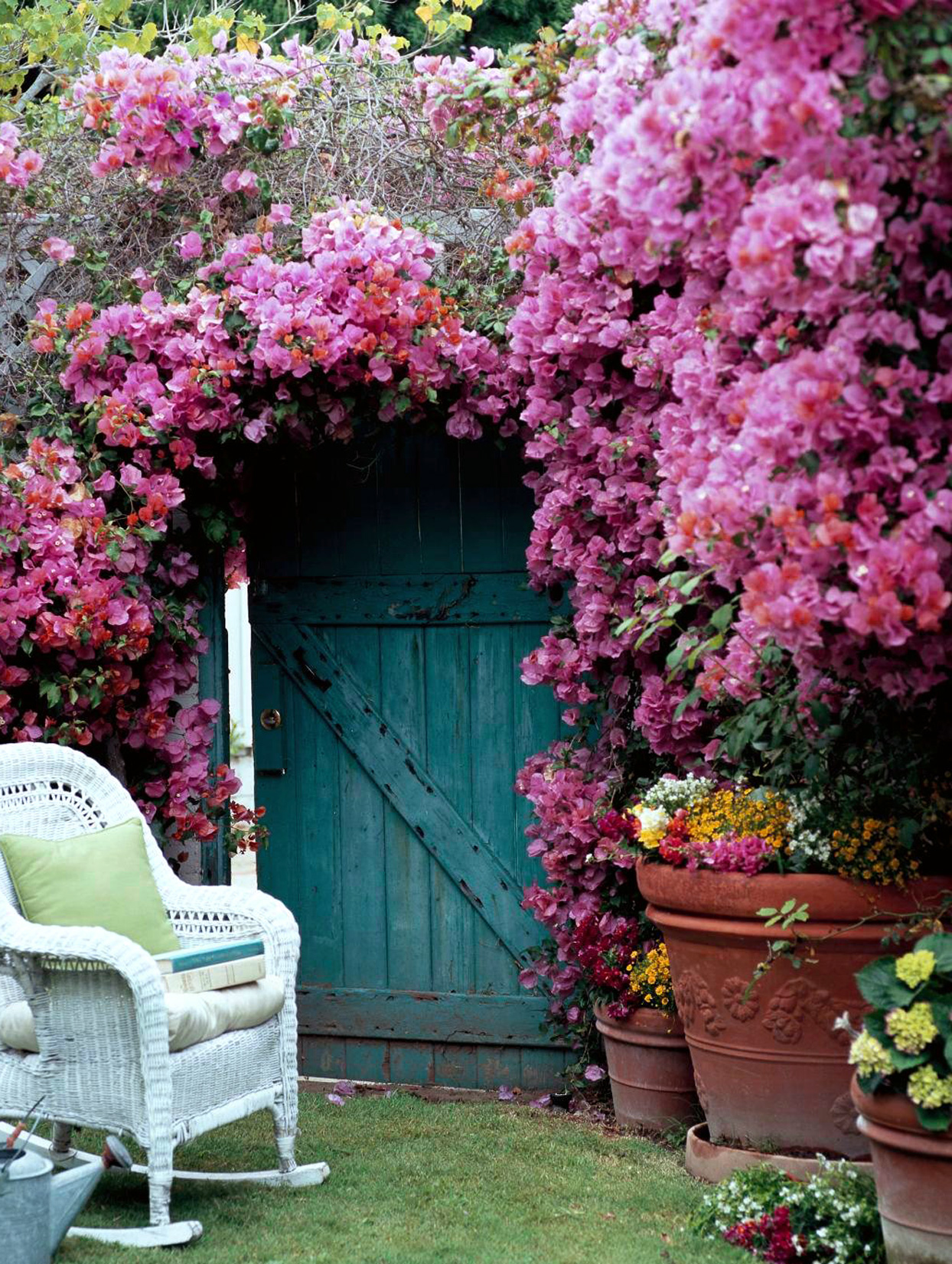 pink flowers, barn door, white rocking chair