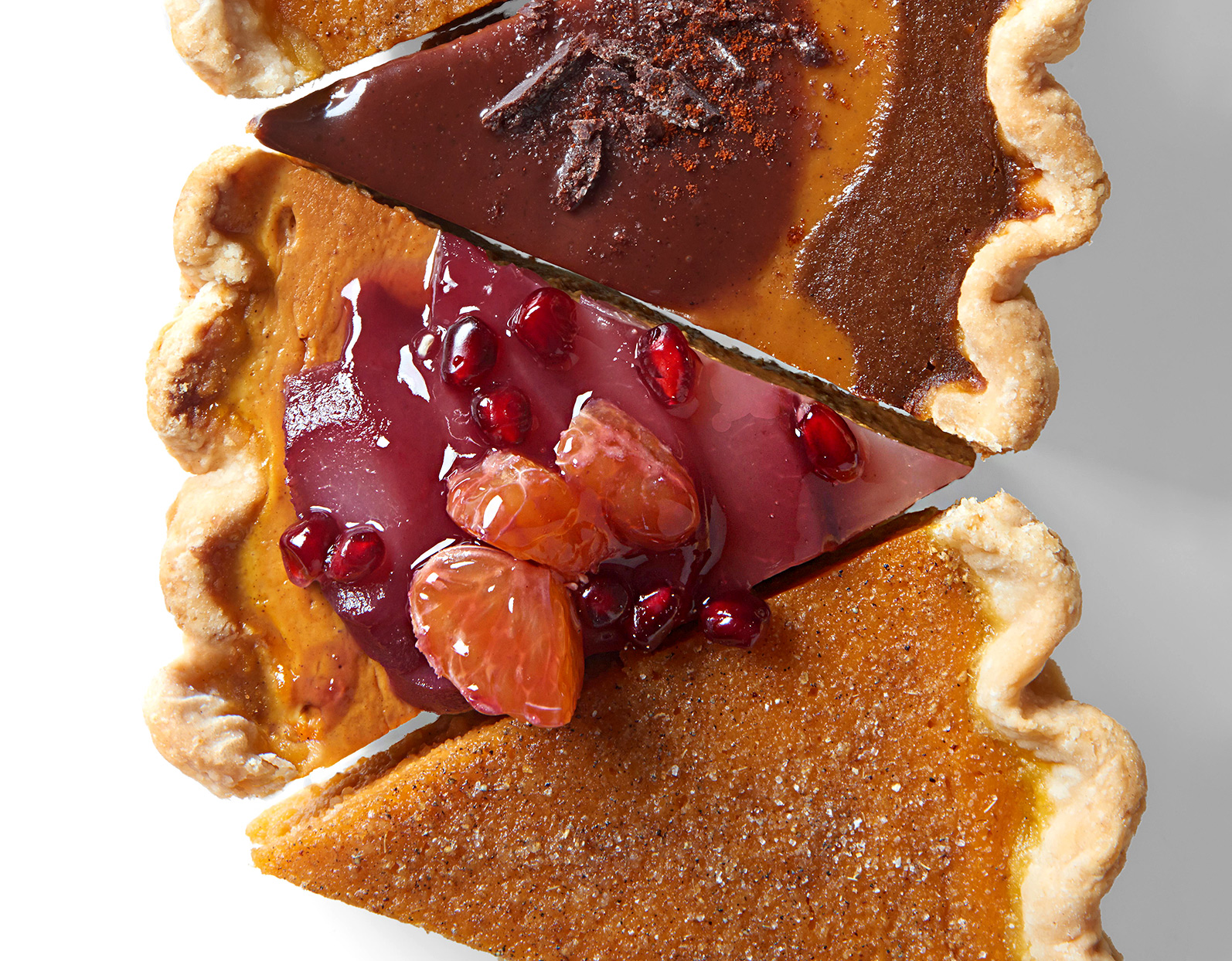 Pumpkin Pie with Pomegranate Poached Pears