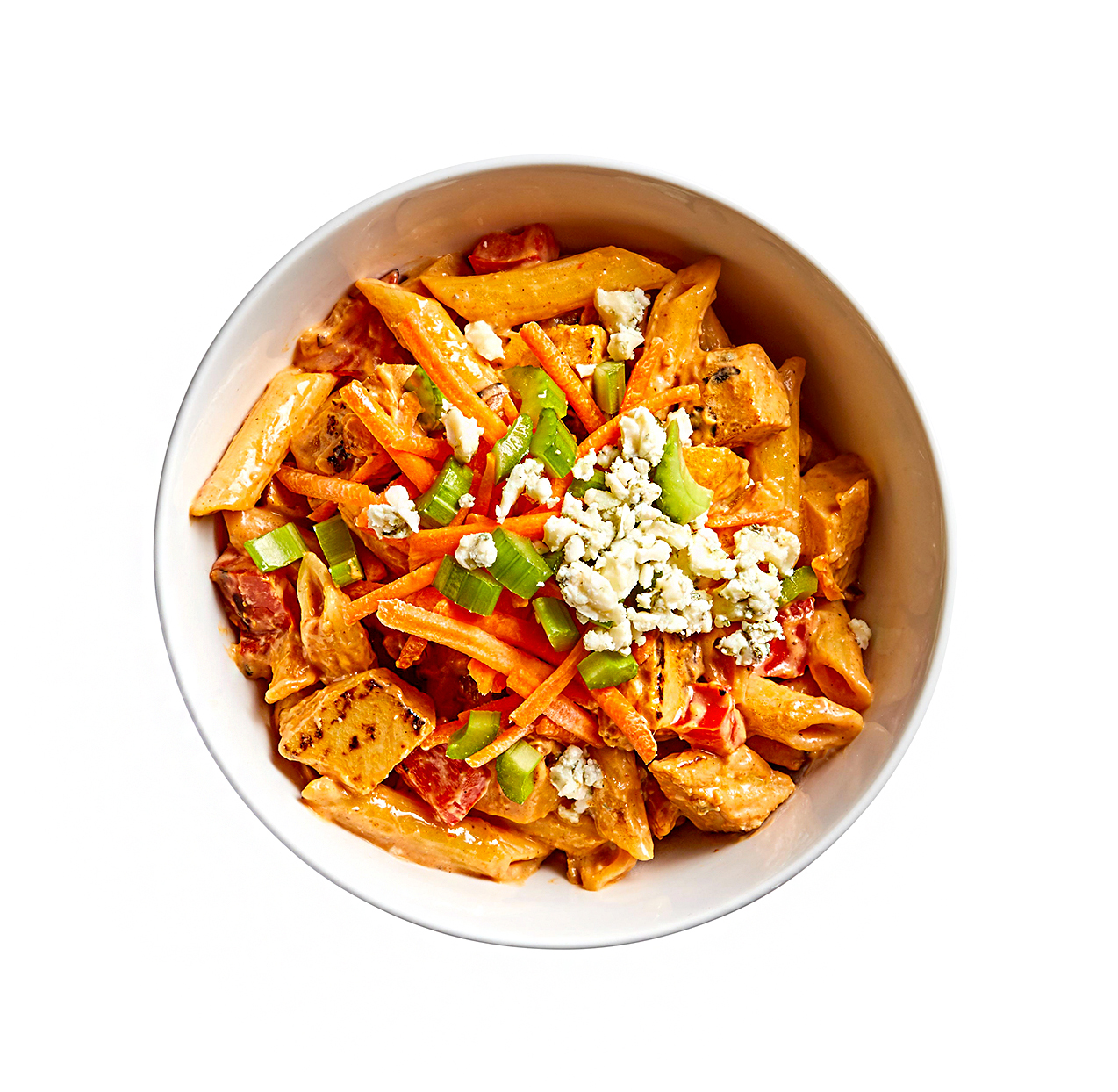 """bowl of Buffalo """"Chicken"""" Pasta topped with celery and bleu cheese"""