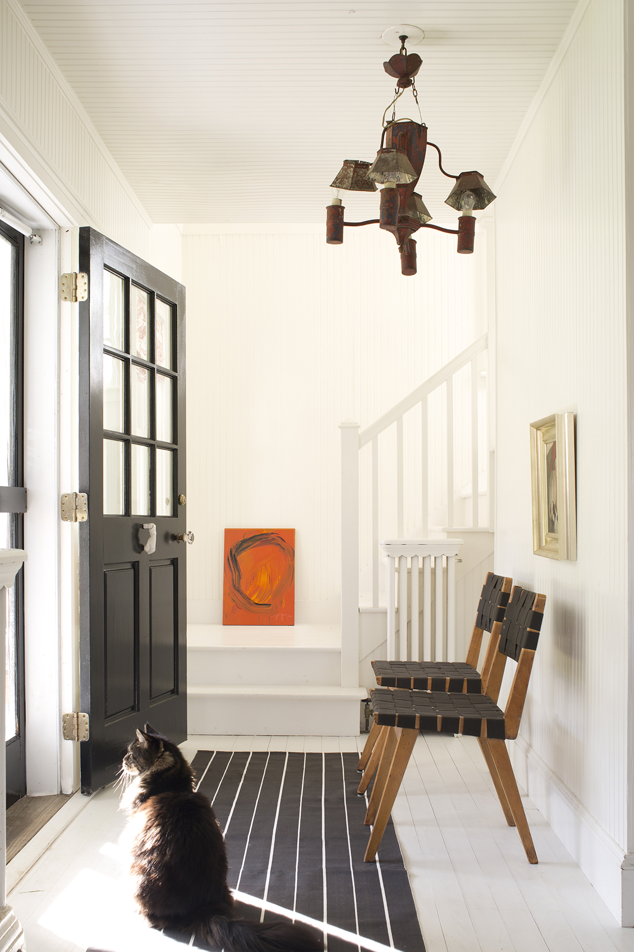 white painted entryway