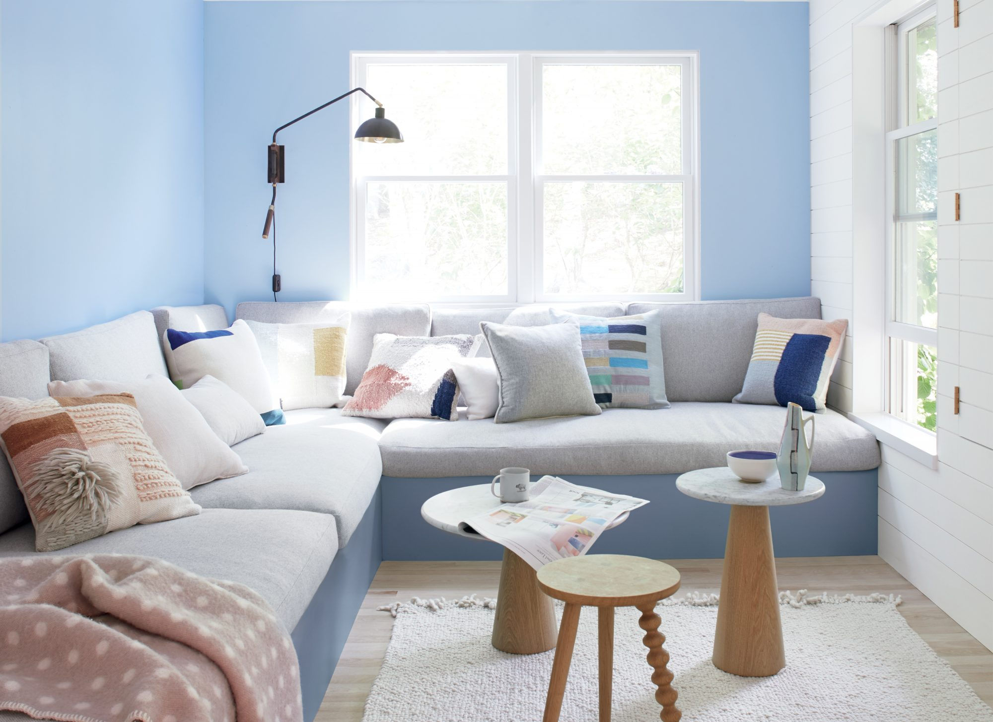 living room with light blue painted walls