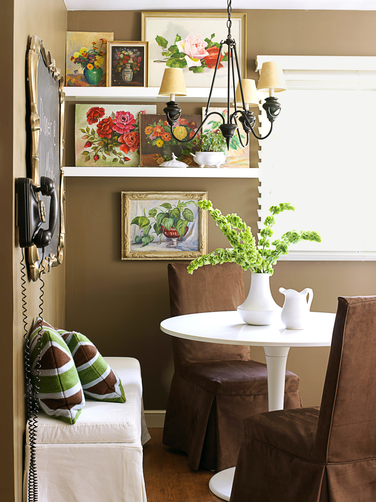 floating shelves and white table