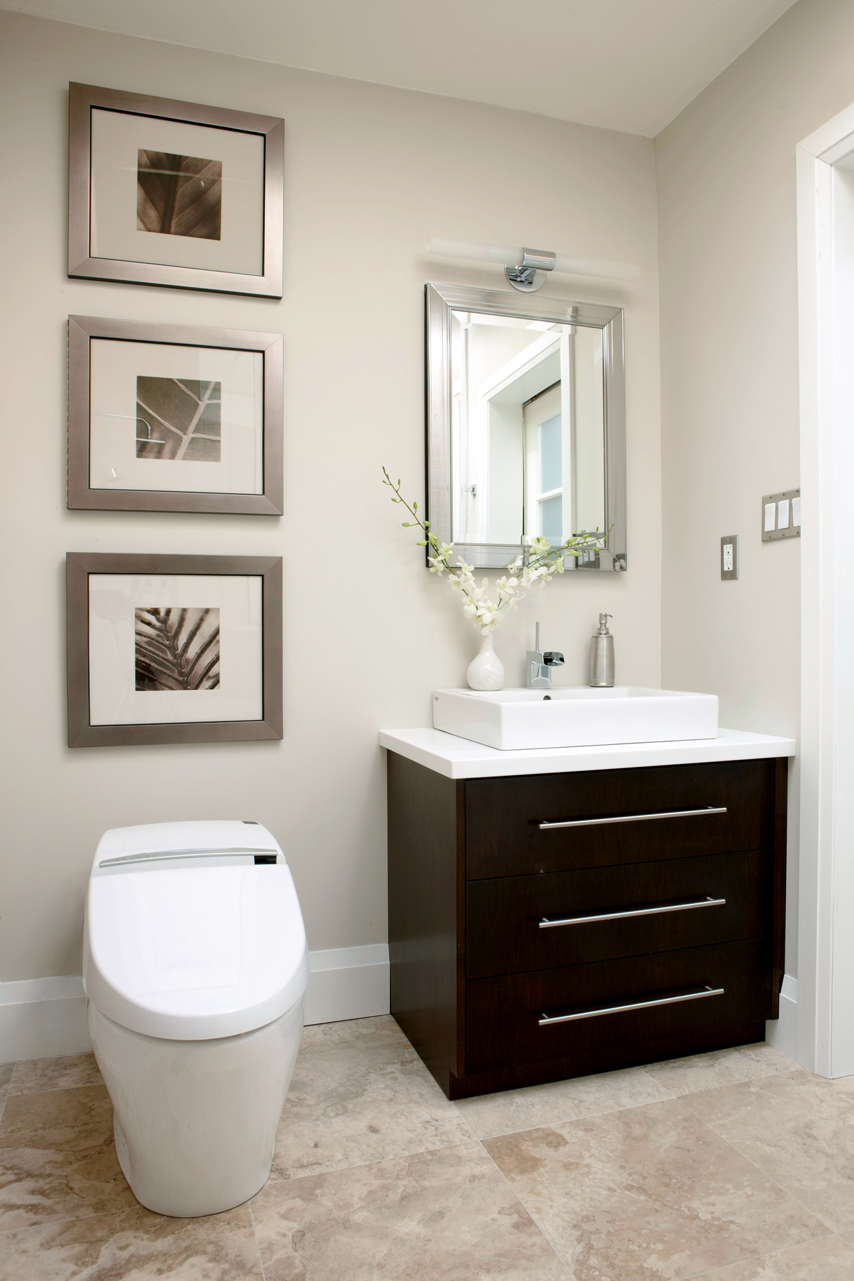 vanity with wide drawers