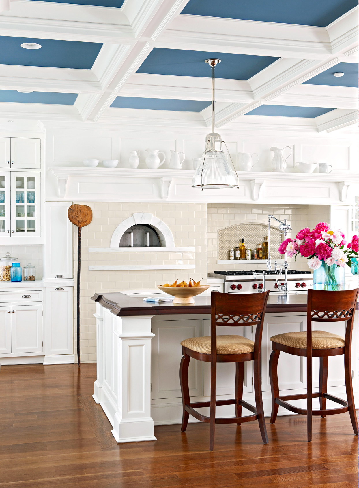 white kitchen with blue ceiling
