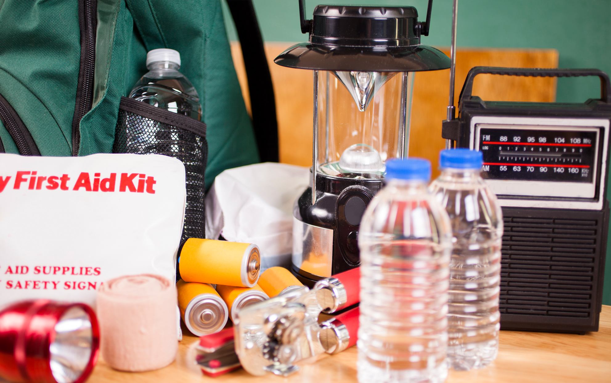 supplies for a Hurricane: bottled water, first aid kit, batteries, radio, etc.
