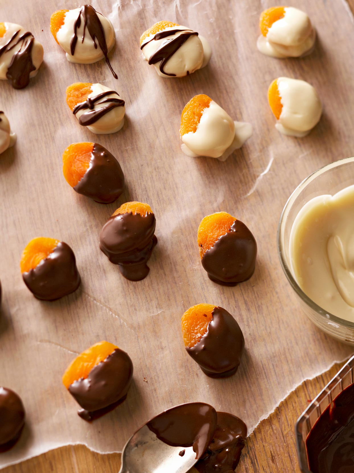 Chocolate-Dipped and Nut-Stuffed Apricots