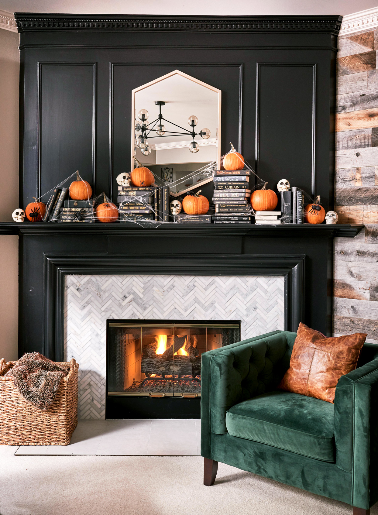 fireplace mantel with pumpkins
