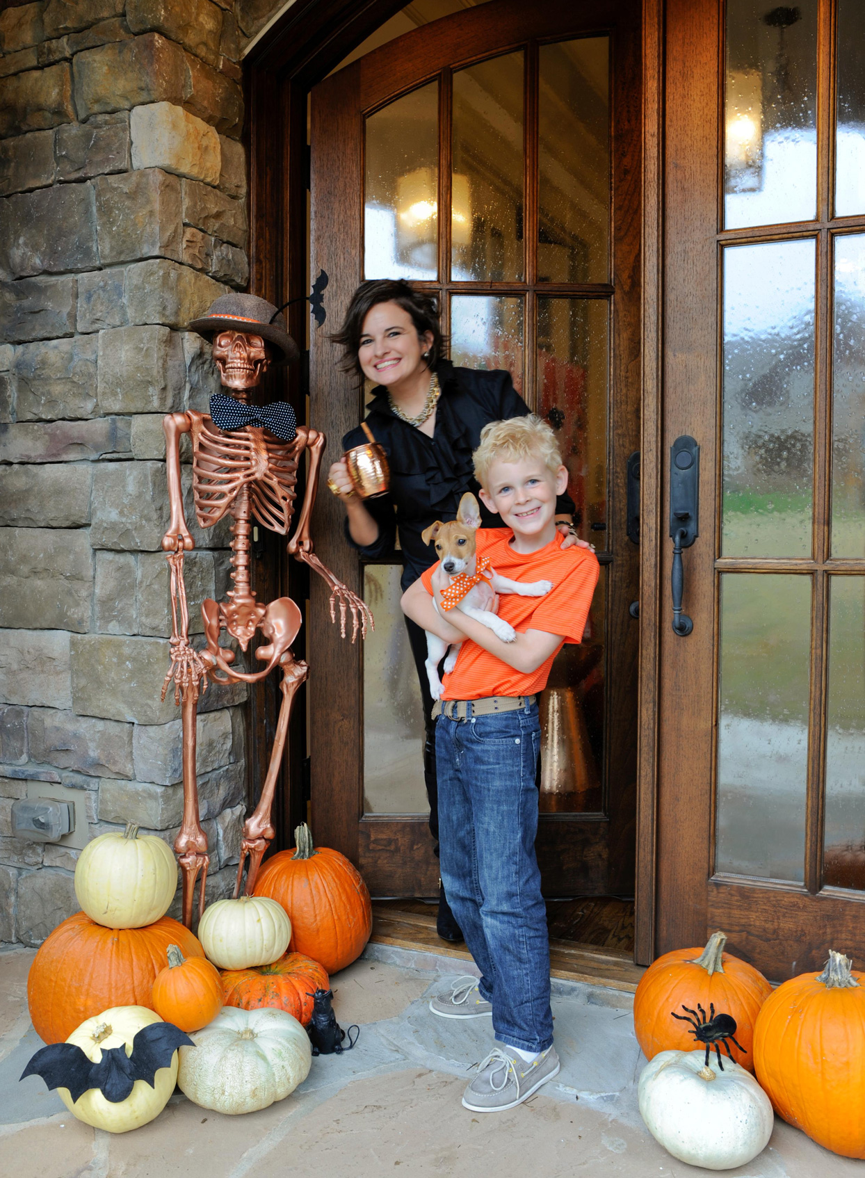 halloween doorway mother son