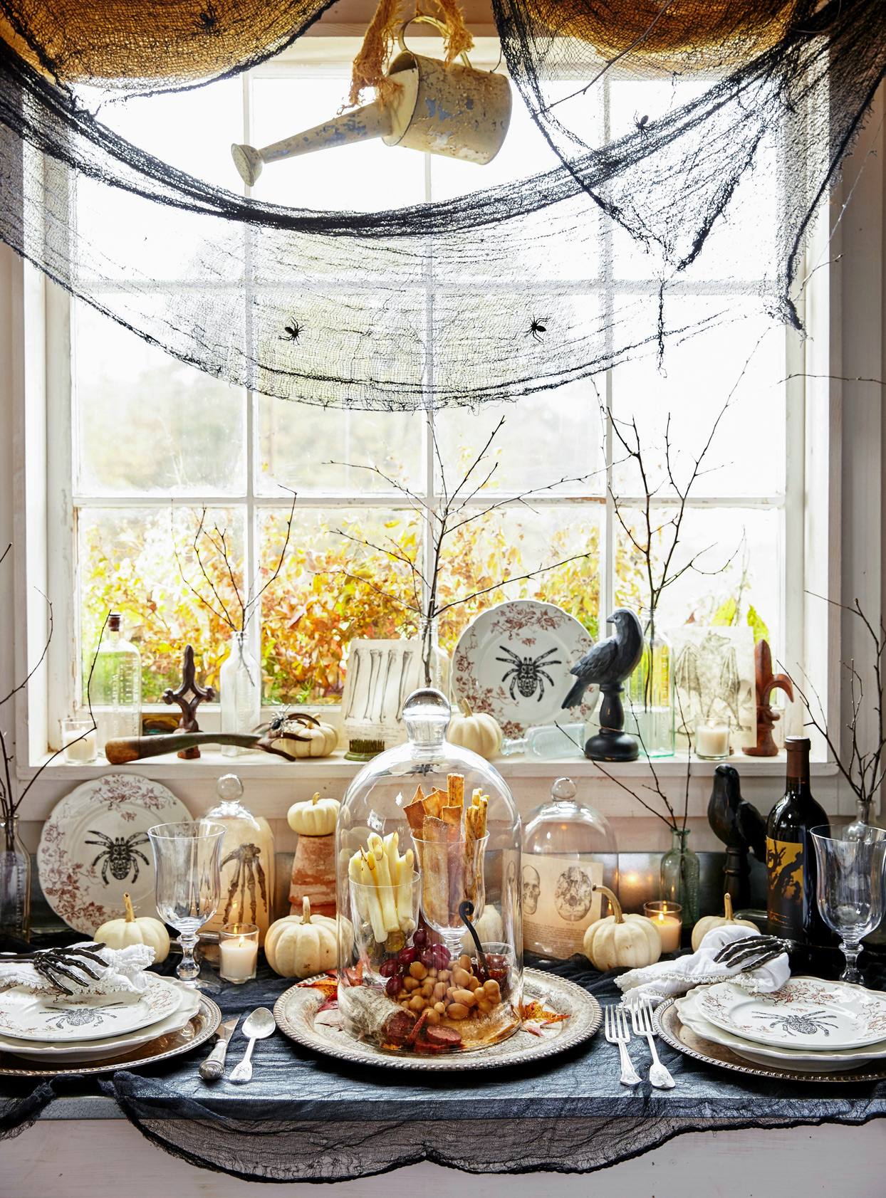 Halloween table window decor