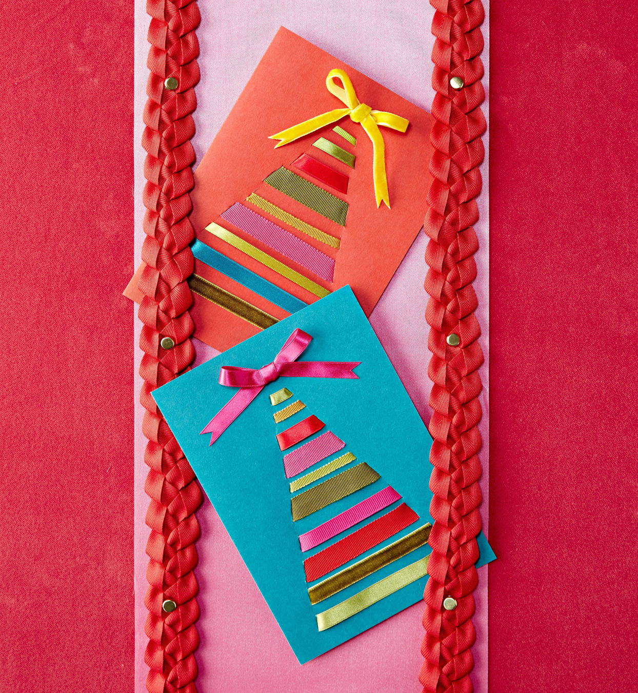 holiday card diy with ribbon