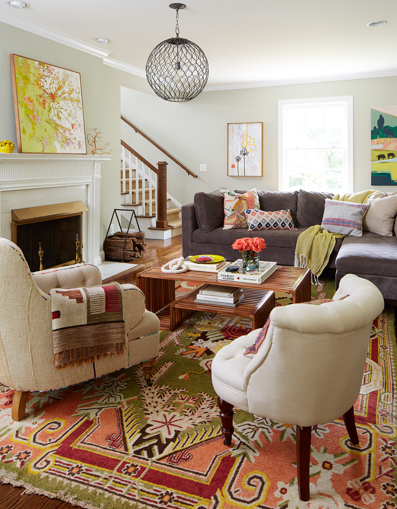living room furniture fireplace stairs