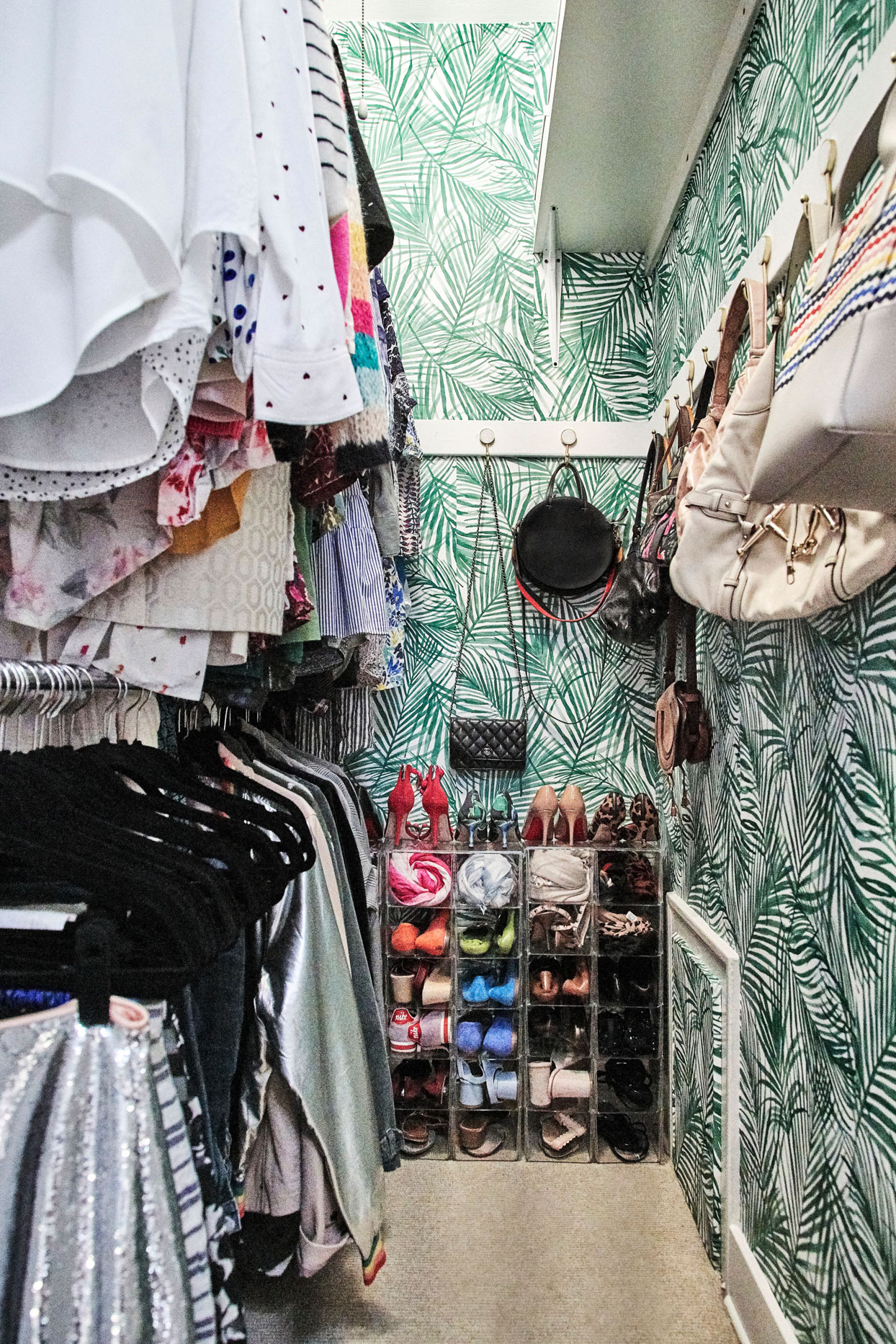 palm wallpapered walk-in closet