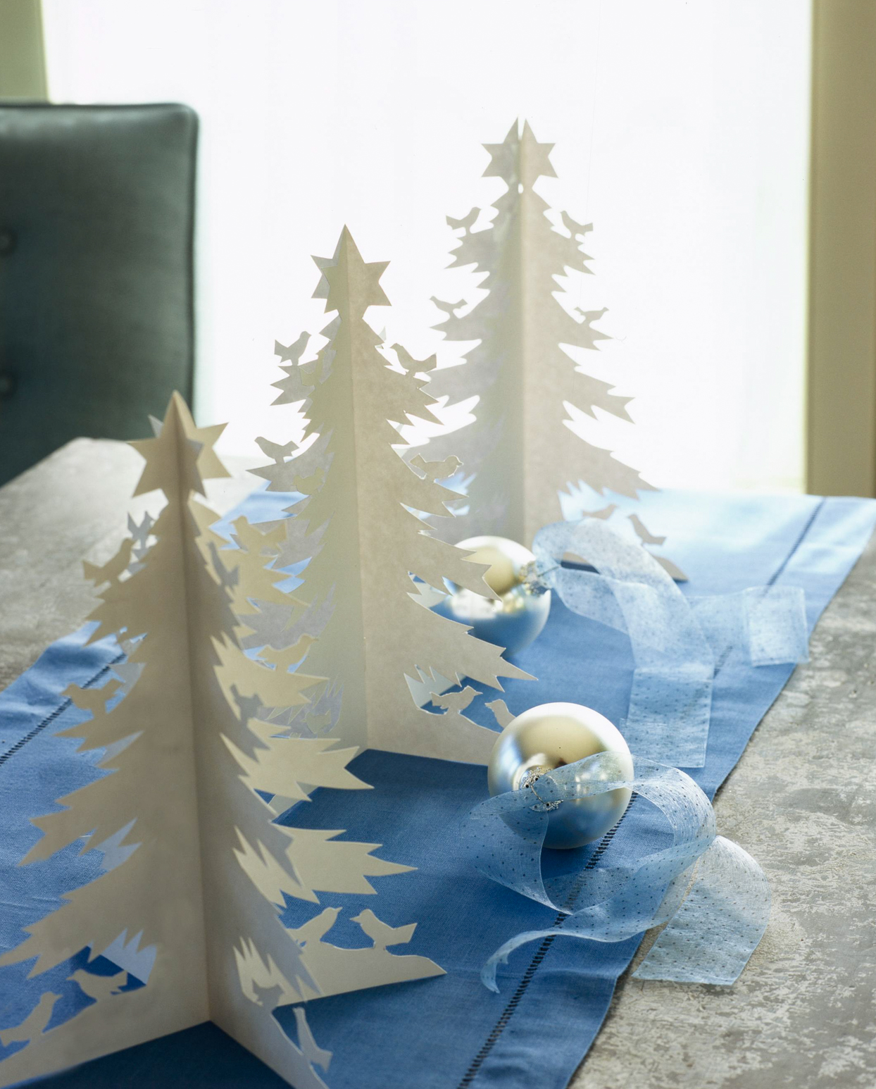 paper trees christmas centerpiece